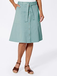 Button Down Paneled Skirt product image (423727.LTGR.4.1_WithBackground)