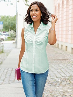 Sleeveless Button Up Blouse product image (424823.LTMT.1.10_WithBackground)