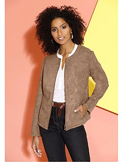 Round Neck Faux Suede Jacket product image (427215.CG.2.1_WithBackground)