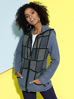 Printed Boucle Zip Cardigan product image (427443.BLPA.2.1_WithBackground)