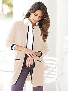Contrast Piping Long Cardigan product image (427449.SA.1.1_WithBackground)