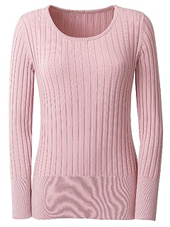Round Neckline Ribbed Sweater product image (427567.RS.1.1_Ghost)