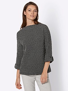 Jacquard Patterned 3/4 Sleeve Top product image (427792.BKWH.3.8_WithBackground)