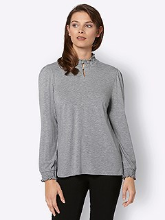Smocked Stand Up Collar Top product image (427848.LGMO.3.1_WithBackground)