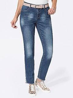 Frayed Hem Side Stripe Jeans product image (427854.BLUS.3.9_WithBackground)