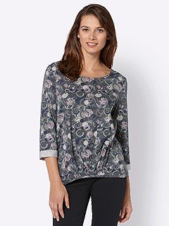 Circle Print 3/4 Length Sleeve Top product image (427927.MVPR.3.1_WithBackground)