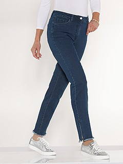 Fringe Hem Zip Detail Jeans product image (427944.BLUS.3.1_WithBackground)