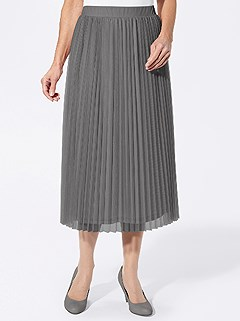 Pleated Mesh Midi Skirt product image (428015.GY.4.9_WithBackground)
