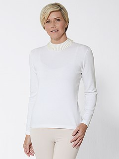 Pearl Stand Up Collar Sweater product image (428042.OFWH.3.1S)