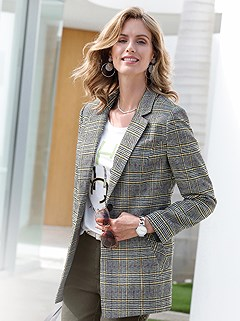 Multi Color Glen Check Blazer product image (428138.MULT.1.1_WithBackground)