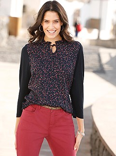 Floral Ruched Collar Top product image (428227.NVPR.1.1_WithBackground)