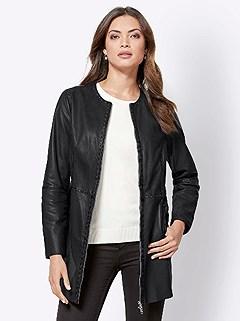 Studded Long Leather Jacket product image (428288.BK.3.11_WithBackground)
