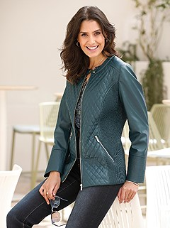 Quilted Faux Leather Jacket product image (428383.PE.2.14_WithBackground)