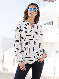 Graphic Print V-Neck Blouse product image (428388.ECNV.1.10_WithBackground)