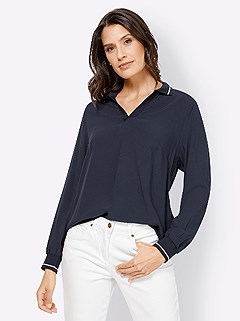 Ribbed Cuff Polo Blouse product image (428392.NV.3.8_WithBackground)