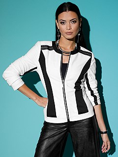Color Contrasting Zip Up Cardigan product image (428560.BKWH.1.P)