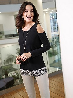 Cold Shoulder Layered Top product image (428679.BKPA.1.11_WithBackground)