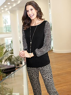 Sheer Leopard Sleeve Top product image (428683.CGMU.1.11_WithBackground)