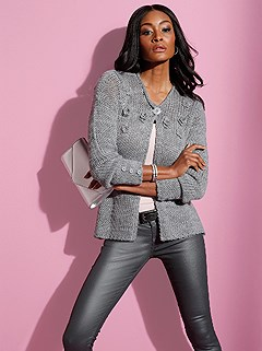 Crochet Flower Applique Cardigan product image (428699.GYMO.1.1_WithBackground)