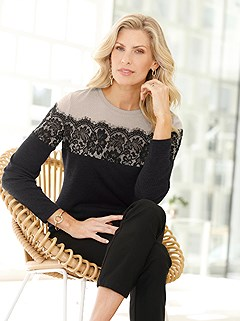 Lace Trim Color Block Sweater product image (428944.BKBE.2.1_WithBackground)