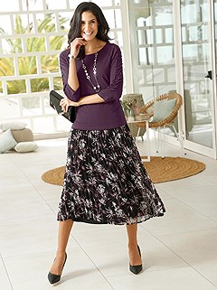 Dark Floral Pleated Midi Skirt product image (429278.BKRS.1.7_WithBackground)