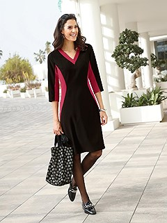 Color Block V-Neck Midi Dress product image (429298.RDBK.1.16_WithBackground)