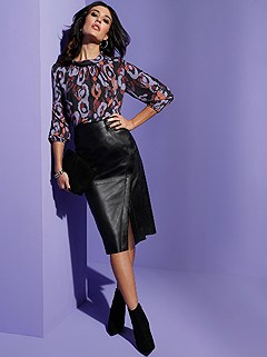 Wrap Over Leather Skirt product image (429423.BKPR.1.9_WithBackground)
