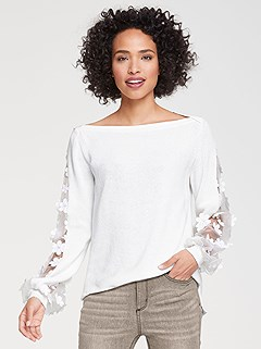 Floral Lace Insert Sweater product image (430600.OFWH.1.P)