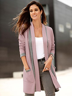 Contrasting Shawl Collar Cardigan product image (430841.RSMO.1.1_WithBackground)