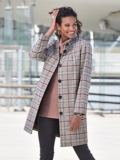 Checkered Pattern Coat product image (431697.GYCK.2.M)
