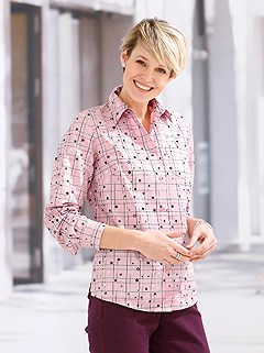 Star Print Button Up Blouse product image (433123.HYDR.1.1_WithBackground)
