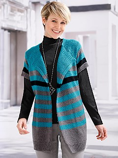 Striped Short Sleeve Cardigan product image (433314.AQST.1.1_WithBackground)