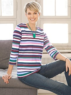 3/4 Sleeve Striped Top product image (434010.RDST.1.1_WithBackground)