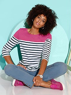 Striped 3/4 Sleeve Top product image (437742.FSWH.3.1_WithBackground)
