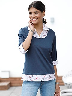 Anchor Print Layered Look Top product image (437858.DKBL.2.1_WithBackground)