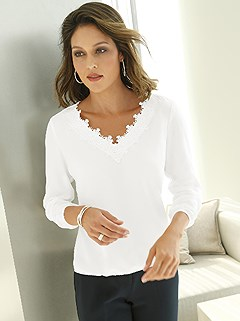 Lace V-Neck Blouse product image (438128.EC.1.1_WithBackground)