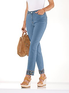 Embroidered Hem Denim Jeans product image (438471.FADE.3.1_WithBackground)