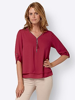 Zip V-Neck Blouse product image (438811.CHRY.3.1_WithBackground)