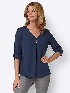 Button Detail V-Neck Blouse product image (438832.MTBL.3.1_WithBackground)