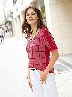 Check Print Blouse product image (438877.RBPR.1.1_WithBackground)