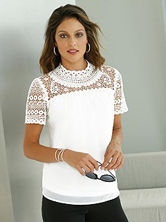 Lace Panel Chiffon Blouse product image (439111.WH.1.1_WithBackground)