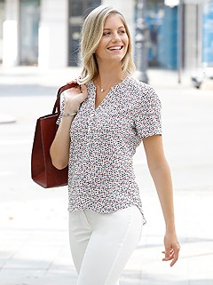 Heart Print V-Neck Blouse product image (439303.ECRD.1.1_WithBackground)