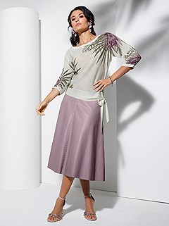 Faux Leather Midi Skirt product image (439491.MV.1.1_WithBackground)
