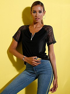 Zip Up Sheer Sleeve Top product image (439540.BK.1.1_WithBackground)
