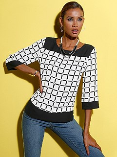 Contrast Print Blouse product image (439543.WHPA.1.1_WithBackground)