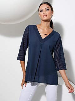 Sheer 3/4 Sleeve Tunic product image (439608.DKBL.1.1_WithBackground)