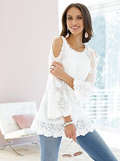 Lace Cold Shoulder Blouse product image (439612.WH.1.1_WithBackground)
