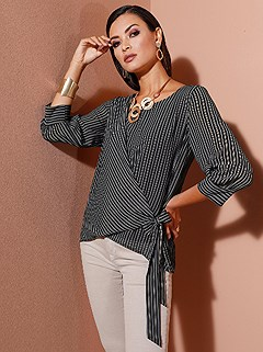 Striped Side Tie Blouse product image (439703.BKST.1.1_WithBackground)