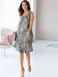 Layered Paisley Print Dress product image (439727.POCH.1.P)