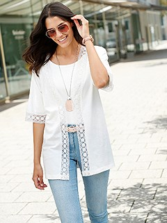 Lace Trim Short Sleeve Cardigan product image (439881.WH.1.1_WithBackground)